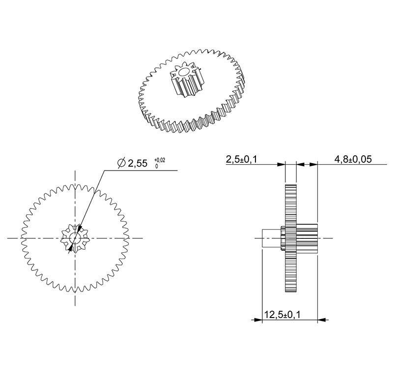 Metal gear Module 0.500, Teeth 47Z, Shape with pinion, ref