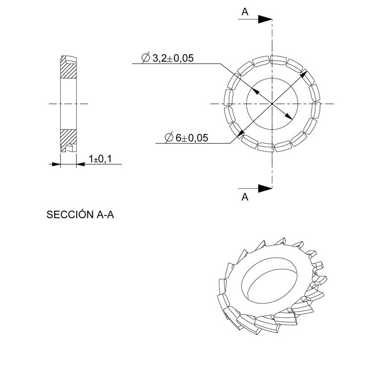 Washer Inner diameter 3.20mm, Thickness 1.00mm, Type fan