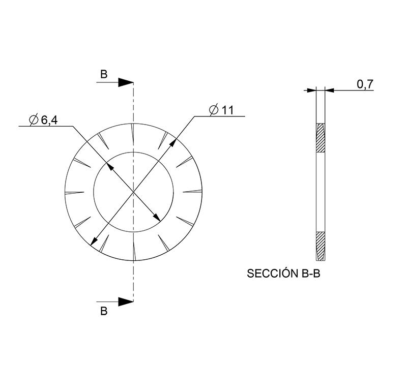 Washer Inner diameter 6.40mm, Thickness 0.7mm, Type fanv