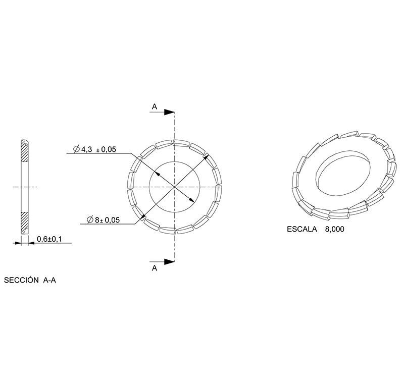 Washer Inner diameter 4.30mm, Thickness 0.60mm, Type fan