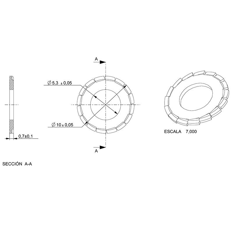 Washer Inner diameter 5.30mm, Thickness 0.70mm, Type fan