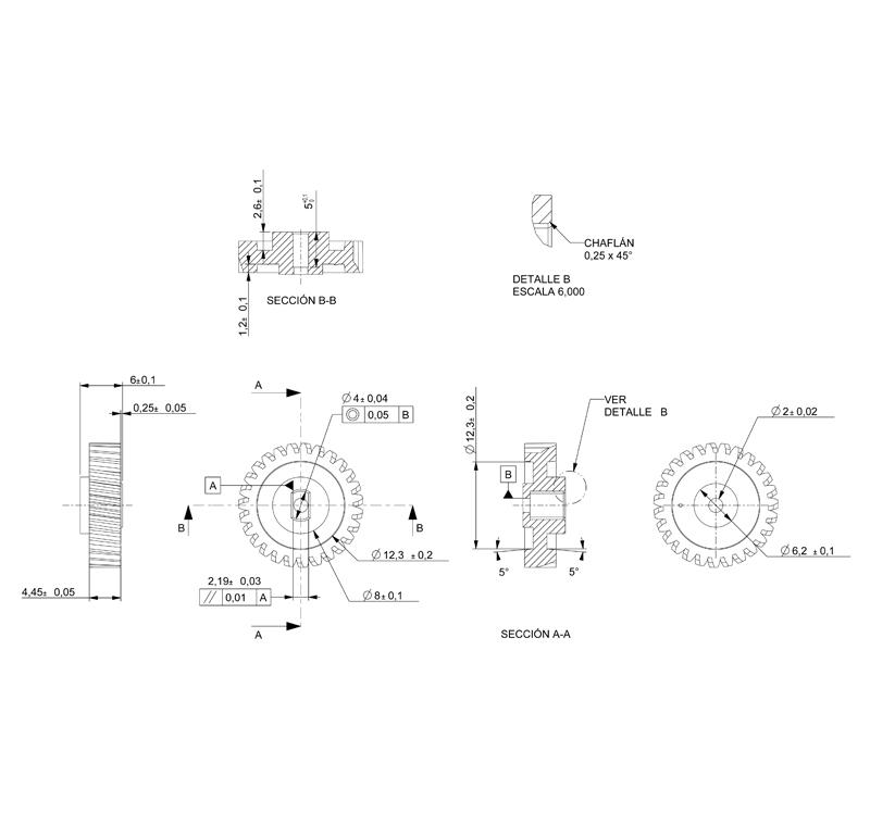 Engranaje de plástico Módulo 0.600, Dientes 27Z, Forma