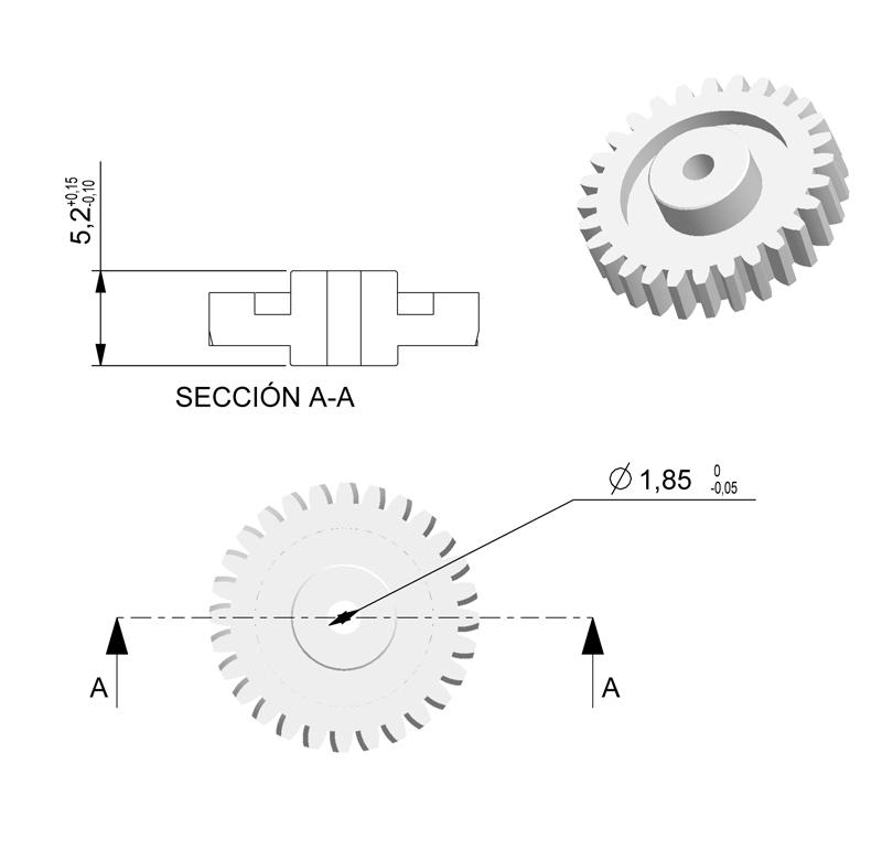 Engranaje de plástico Módulo 0.500, Dientes 28Z, Forma con