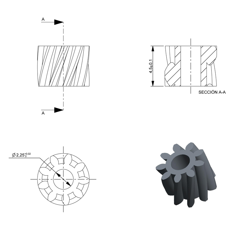 Piñón de metal Módulo 0.500, Dientes 9Z, Forma helicoidal