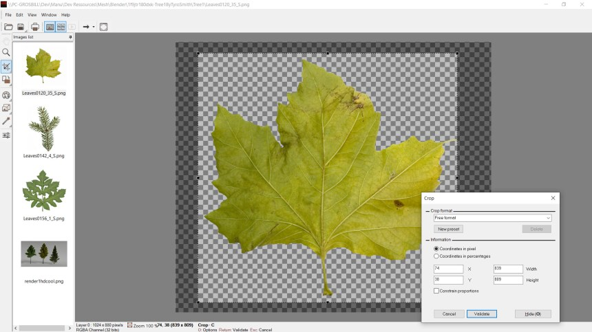 An image viewer displays most of the existing image formats, including HDR image files (exr for example). The viewer displays transparency areas image (alpha channel). It includes many editing features such red eyes correction, image conversions, rotate to horizontal feature, liquid resize...