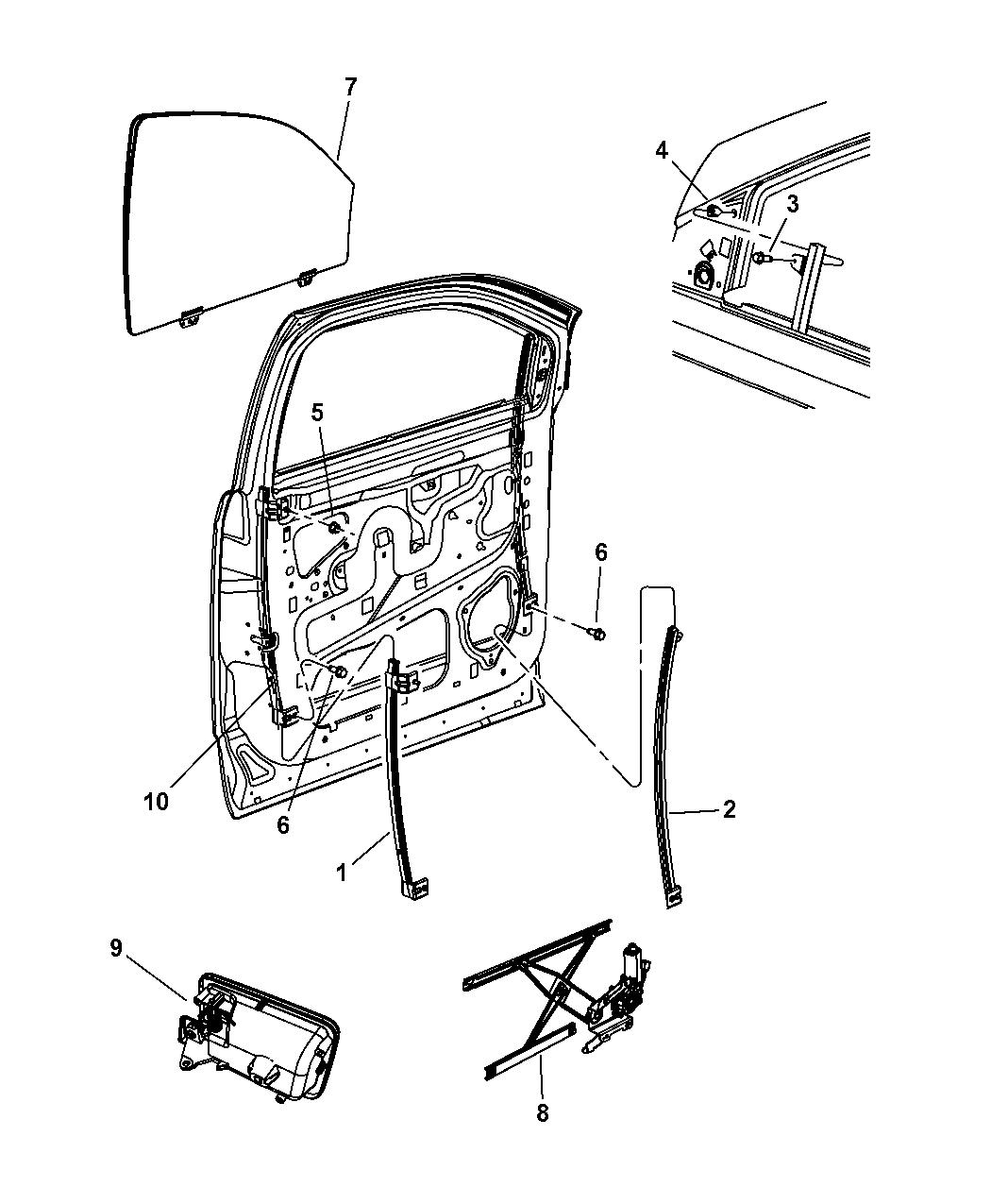 2007 Chrysler Aspen Door, Front Glass & Regulator