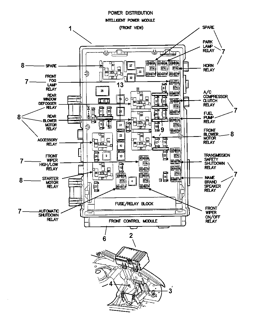 2004 Dodge Caravan Power Distribution Center, Relays & Fuses