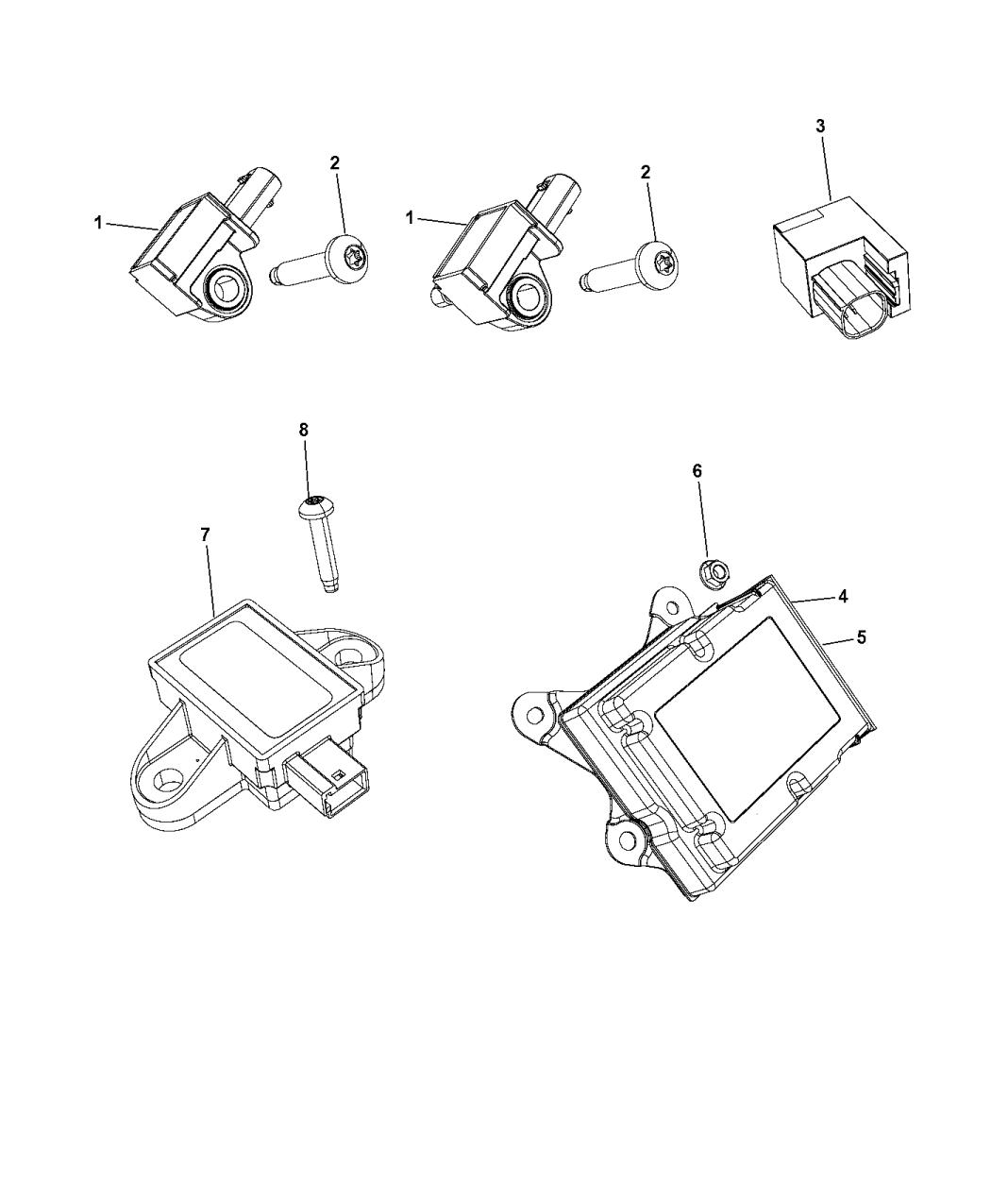 2017 Chrysler Pacifica Air Bag Modules Impact Sensors