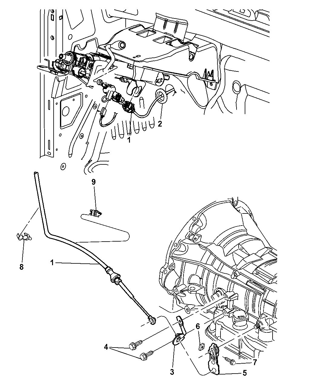2008 Chrysler Aspen Gearshift Lever, Cable And Bracket
