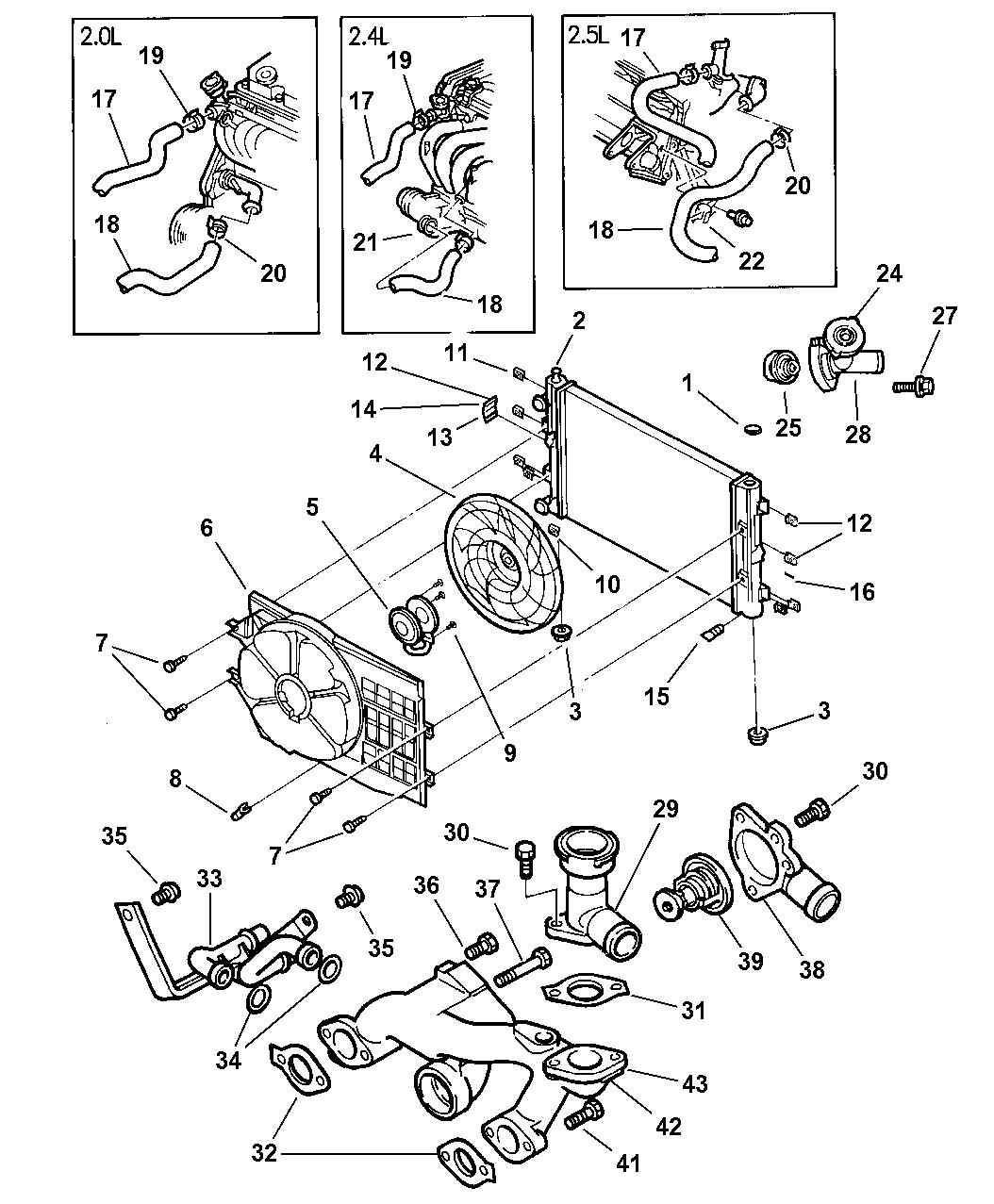 1998 Chrysler Sebring Convertible Radiator & Related Parts