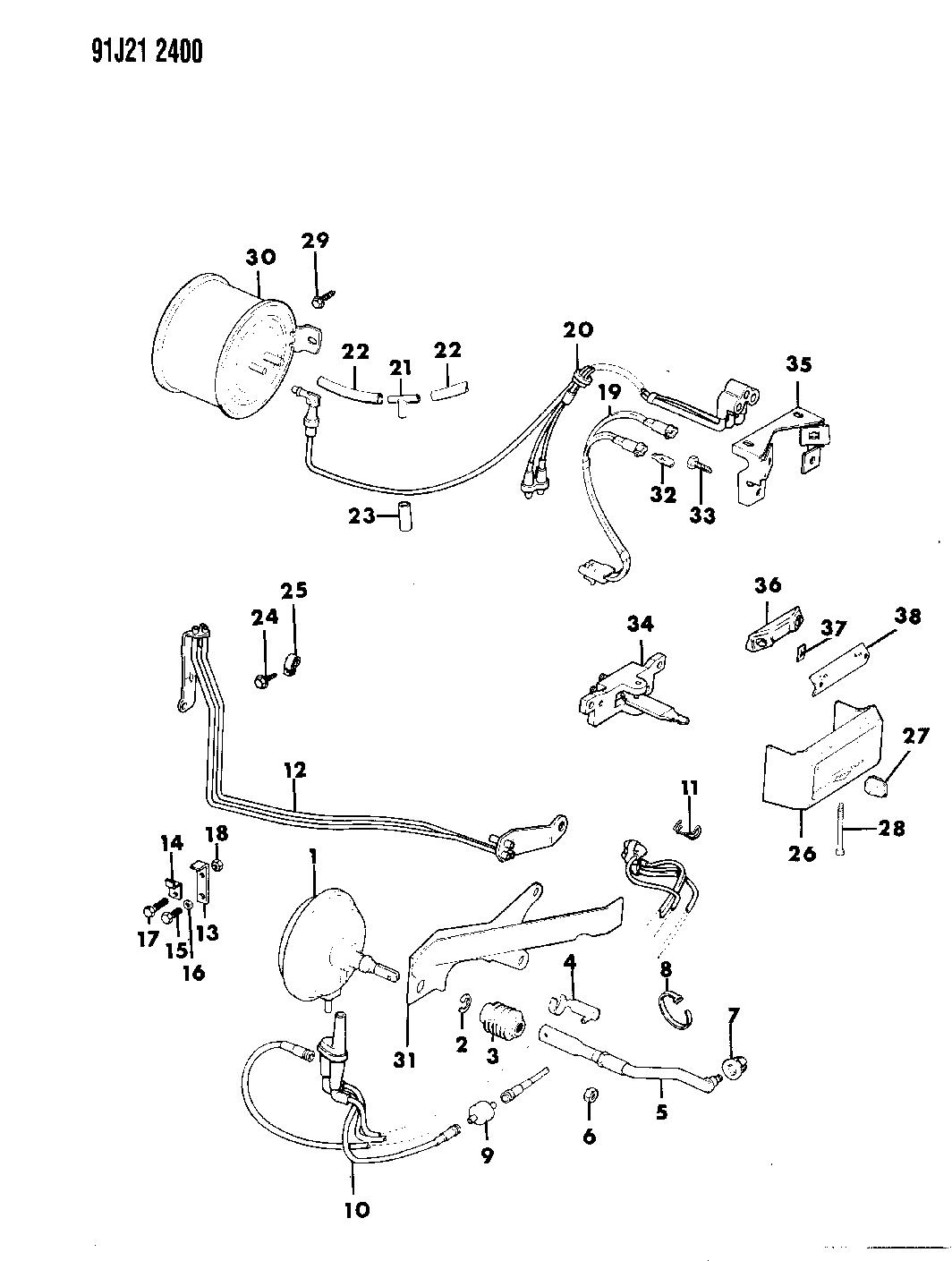 1991 Jeep Grand Wagoneer Controls Switch, Transfer Case Vacuum