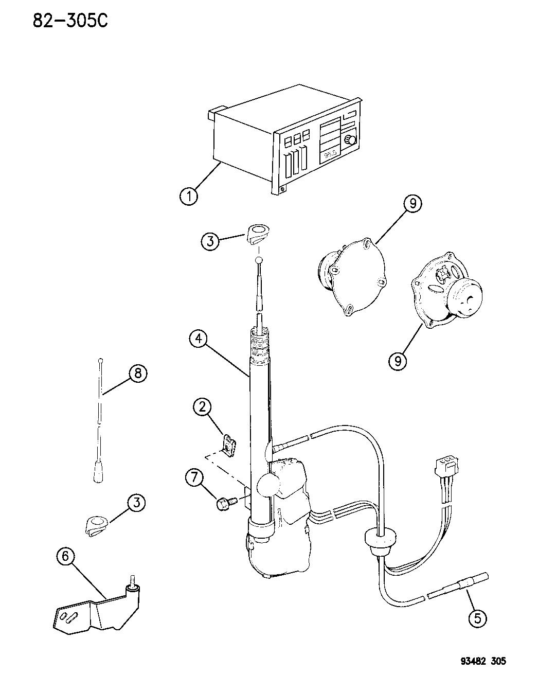 1996 Chrysler Concorde Radio, Antenna And Speakers