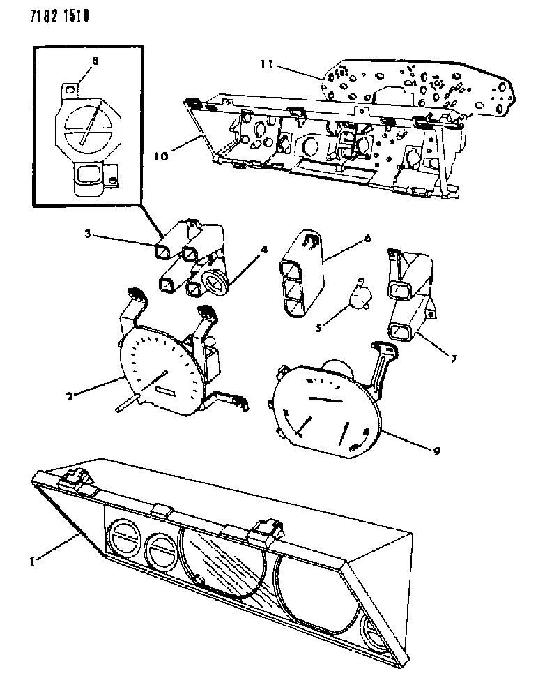 1987 Chrysler LeBaron Base Instrument Panel Cluster