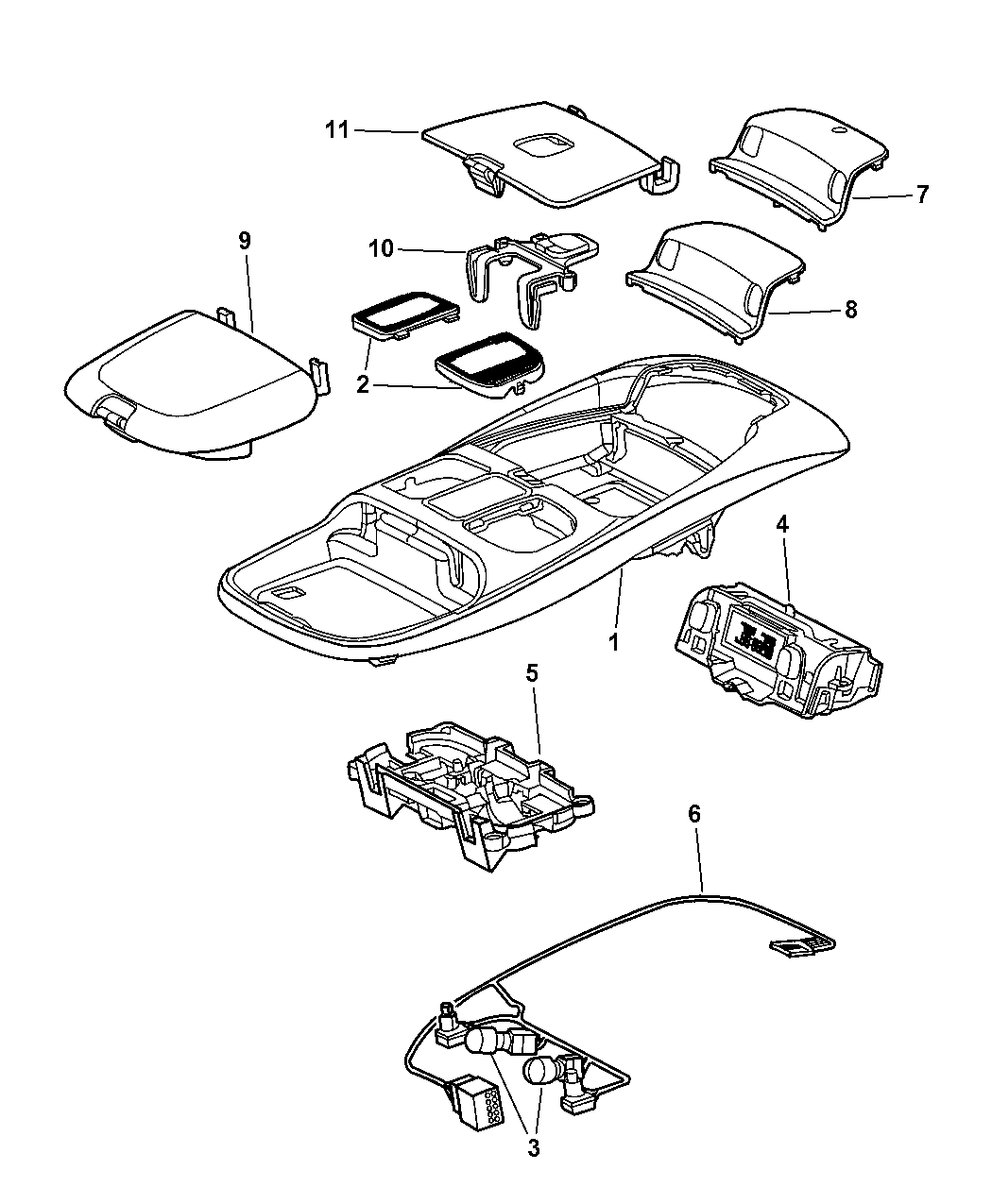 2000 Dodge Ram 1500 Quad & Club Cab Overhead Console