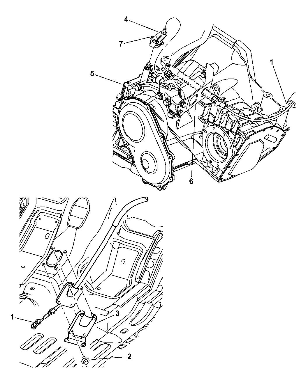 2003 Chrysler PT Cruiser Shifter Cable & Lever