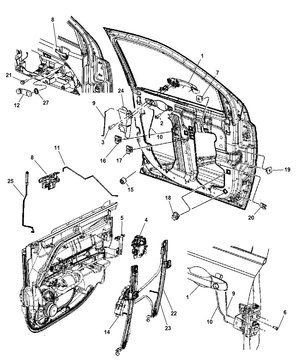 2017 Jeep Compass Front Door, Hardware Components