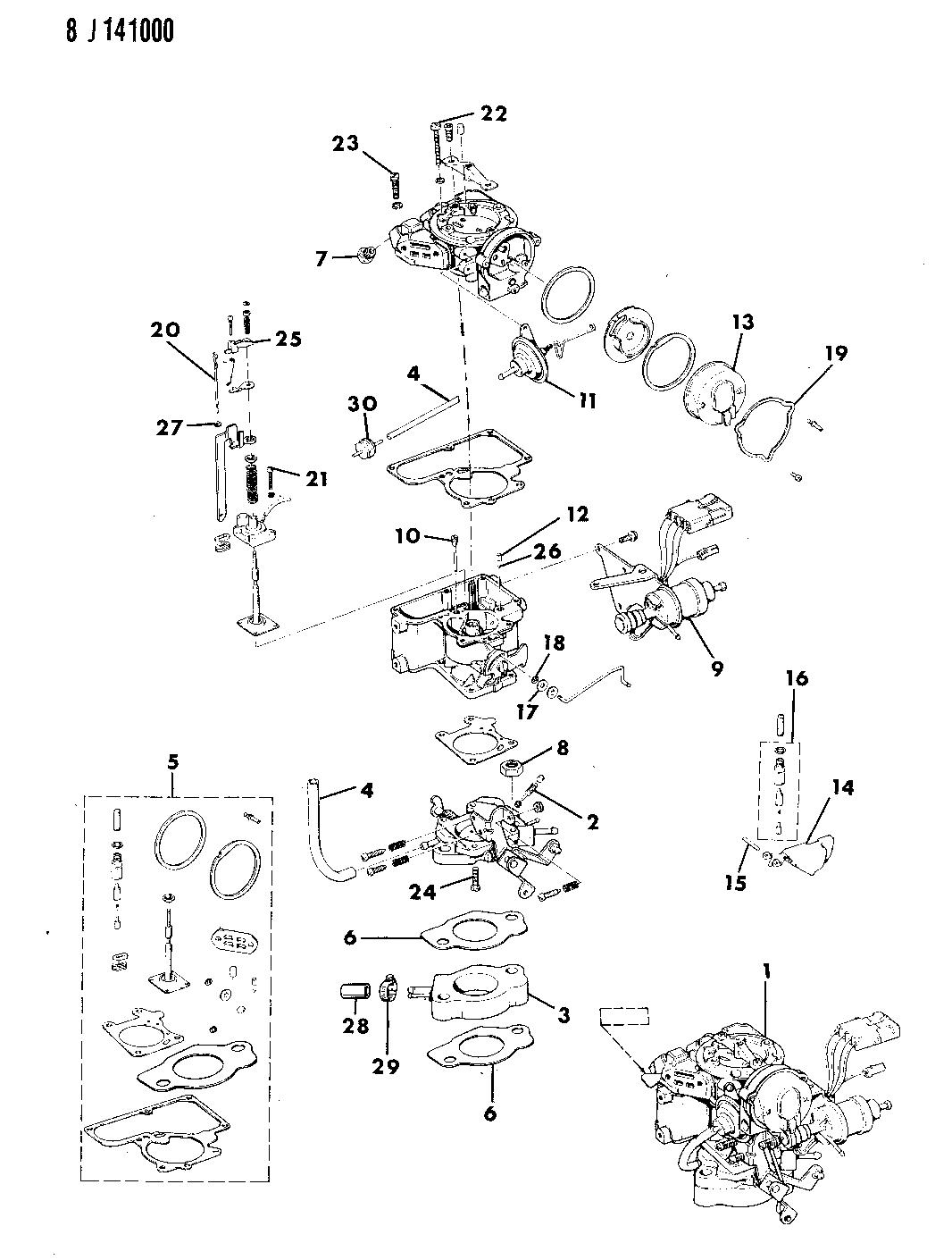 1987 Jeep Comanche Carburetor & Component Parts
