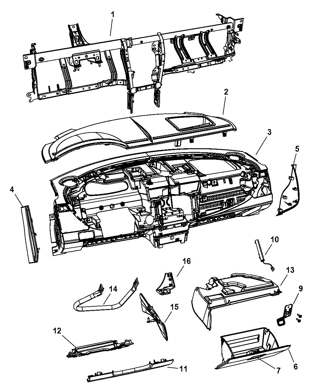 2007 Chrysler Sebring Instrument Panel & Structure