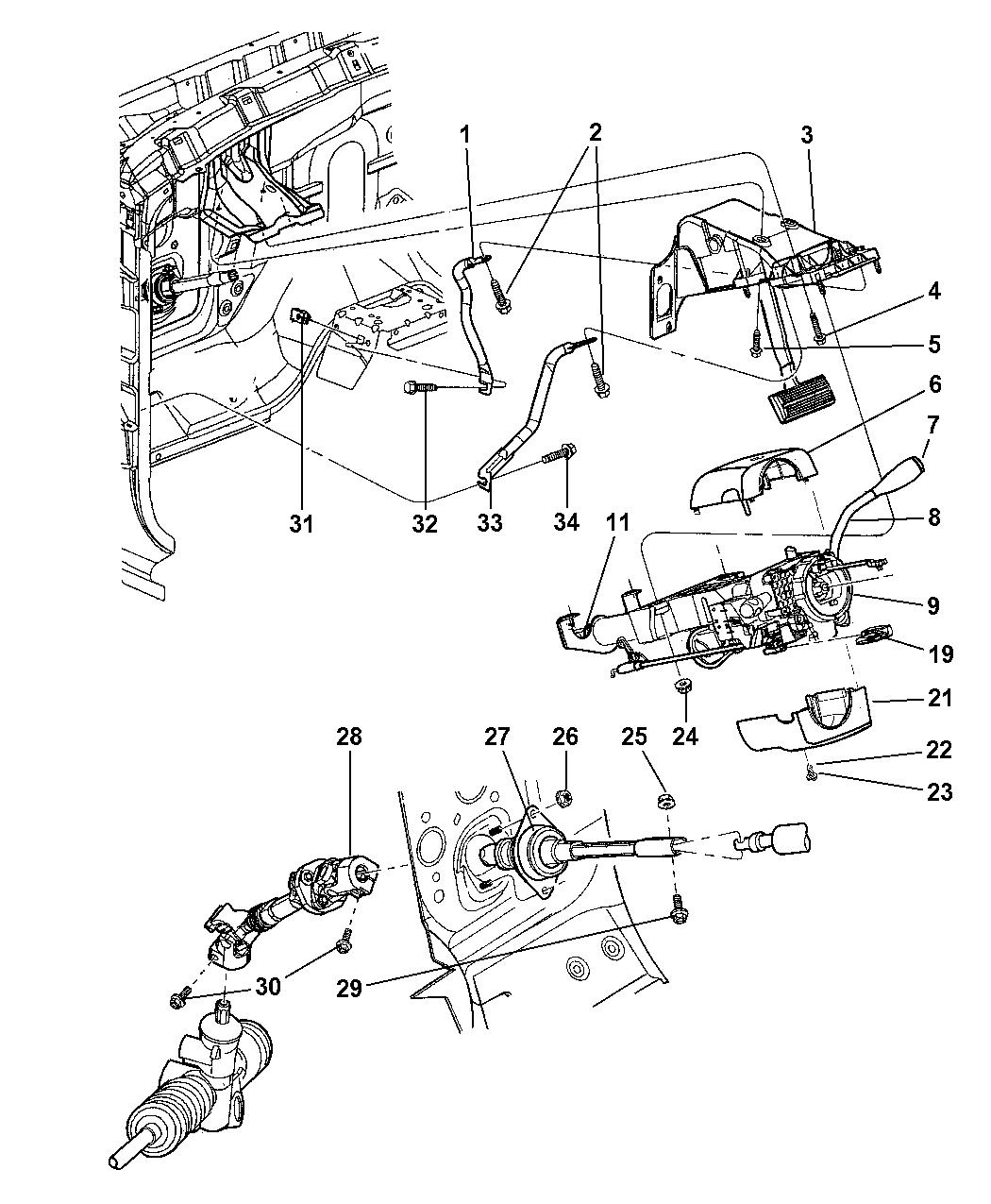 2001 Dodge Durango Column, Steering, Upper & Lower