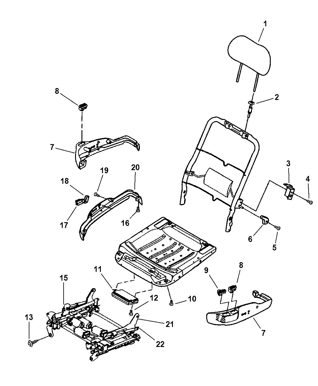 2004 Chrysler 300M Seats Attaching Parts Power Seat