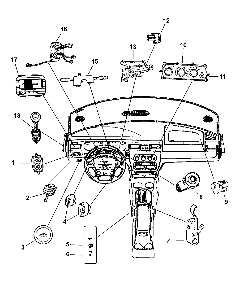 2002 Chrysler Sebring Sedan & Convertible Switches