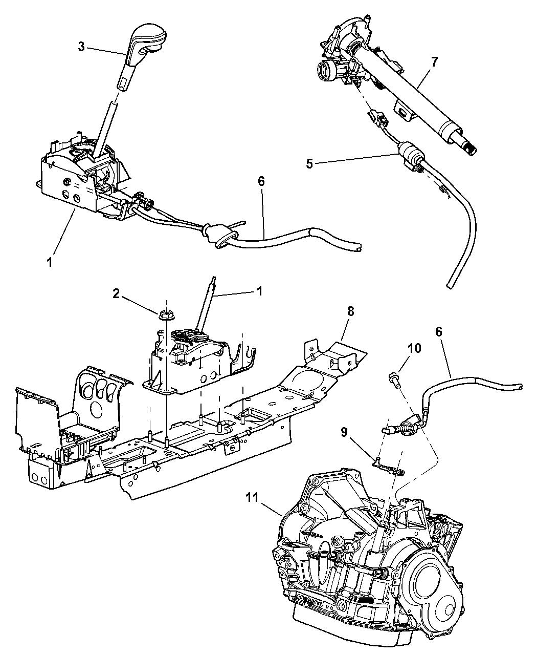 2002 Chrysler Sebring Sedan & Convertible Gear Shift Control