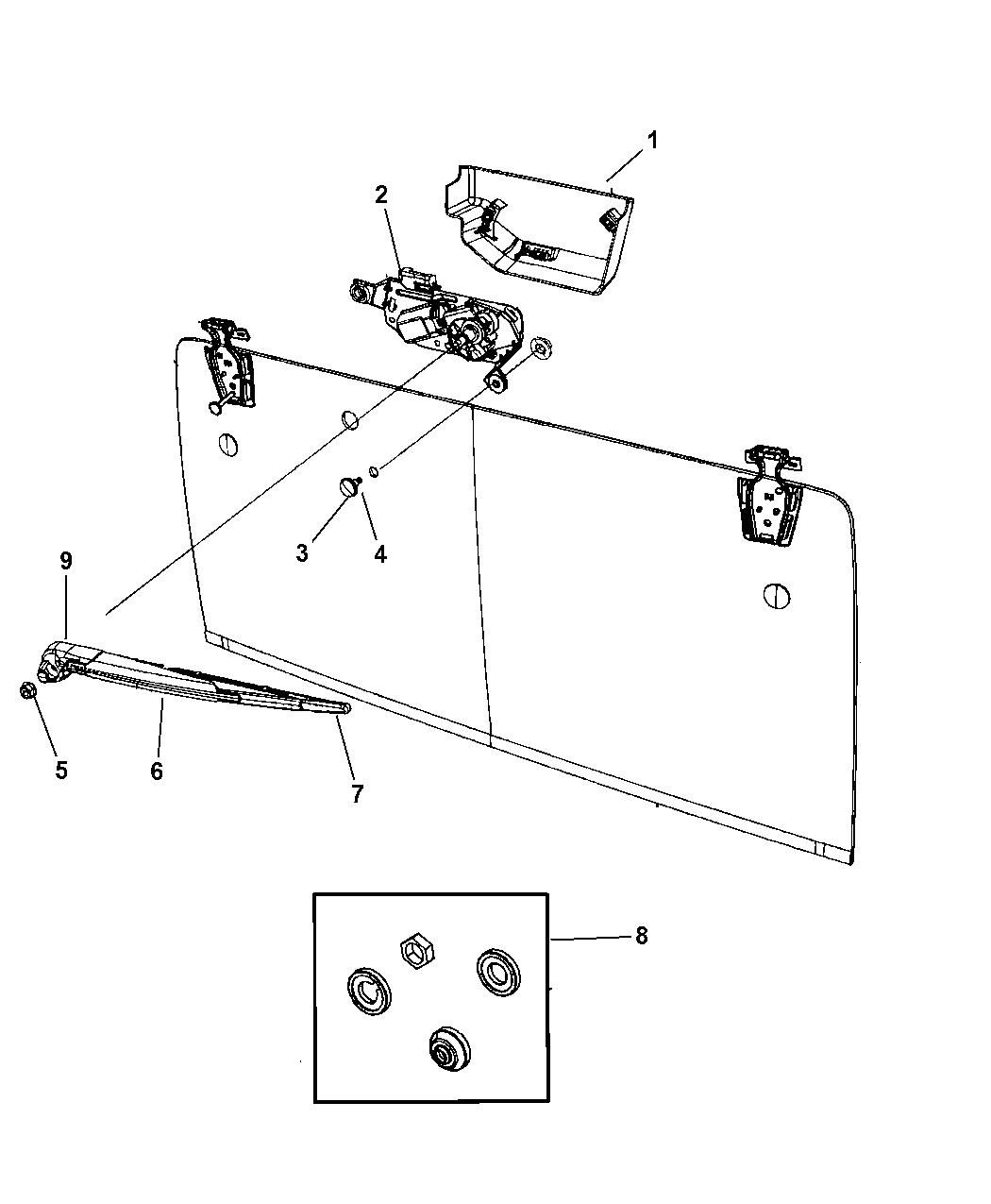 Jeep Wrangler Rear Wiper System