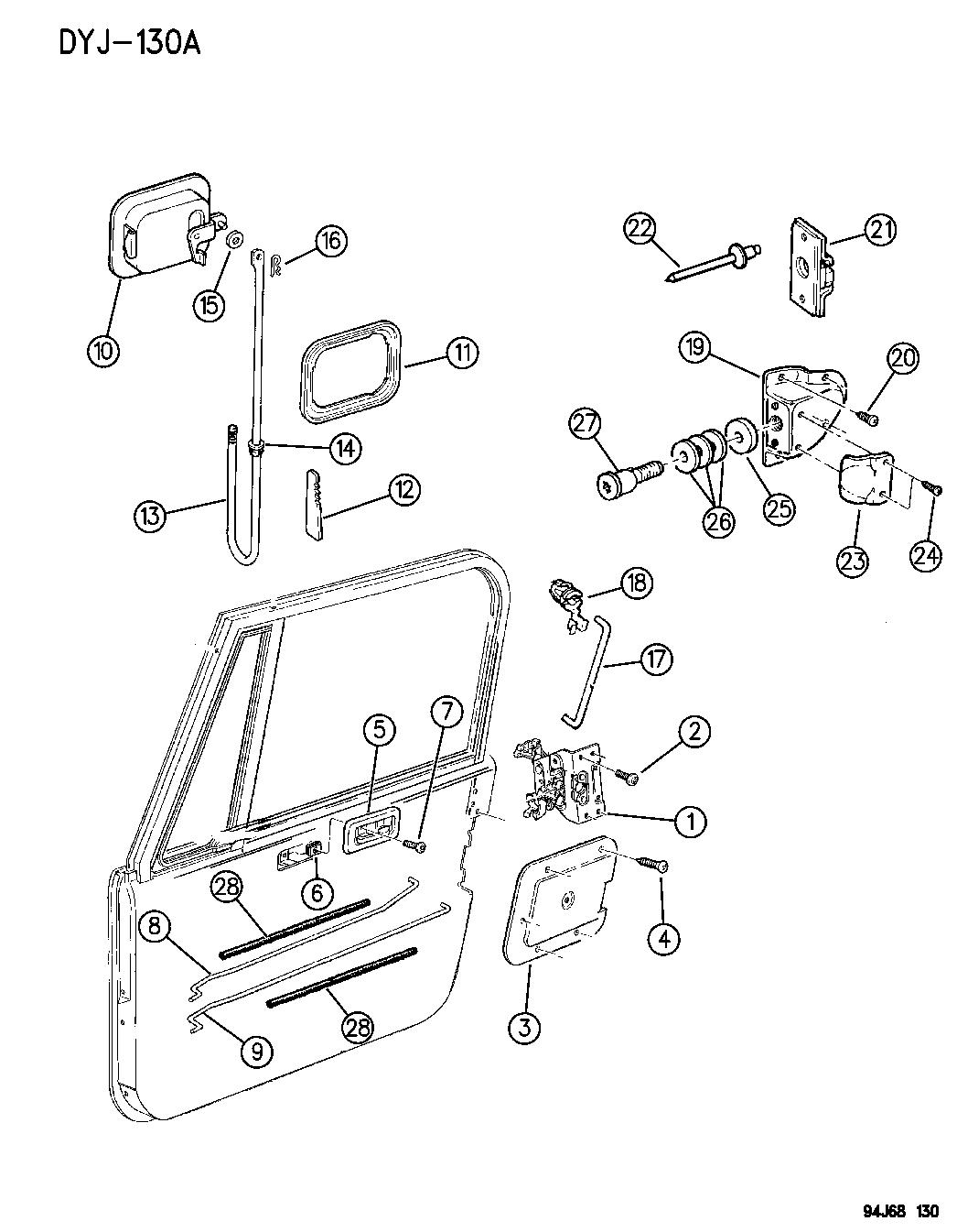 1995 Jeep Wrangler Door, Front, Full Lock And Controls