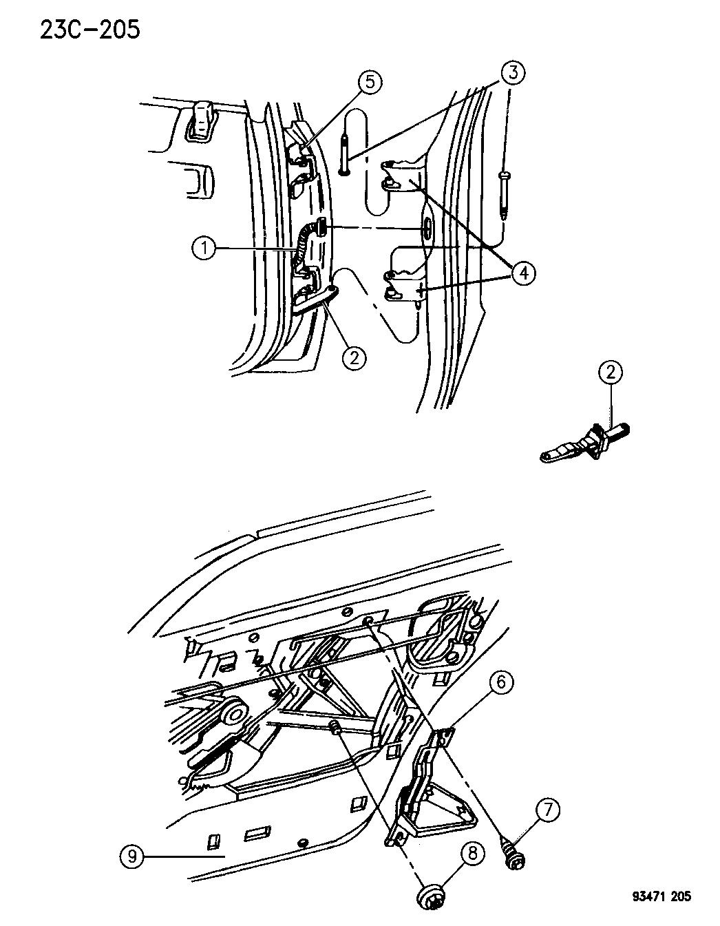1994 Chrysler Concorde Door, Rear Shell & Hinges