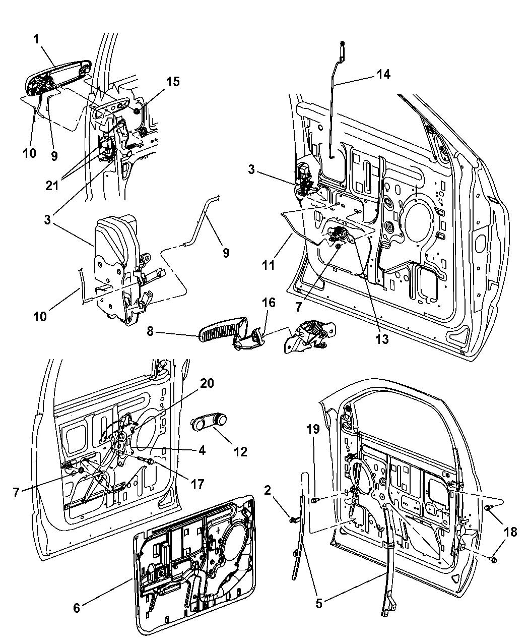 2008 Dodge Ram 2500 Front Door, Hardware Components