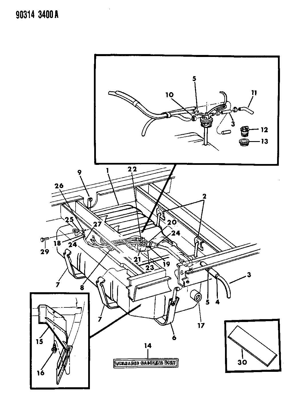 1992 Dodge Dakota Grommet. Fuel tank filler tube. Body