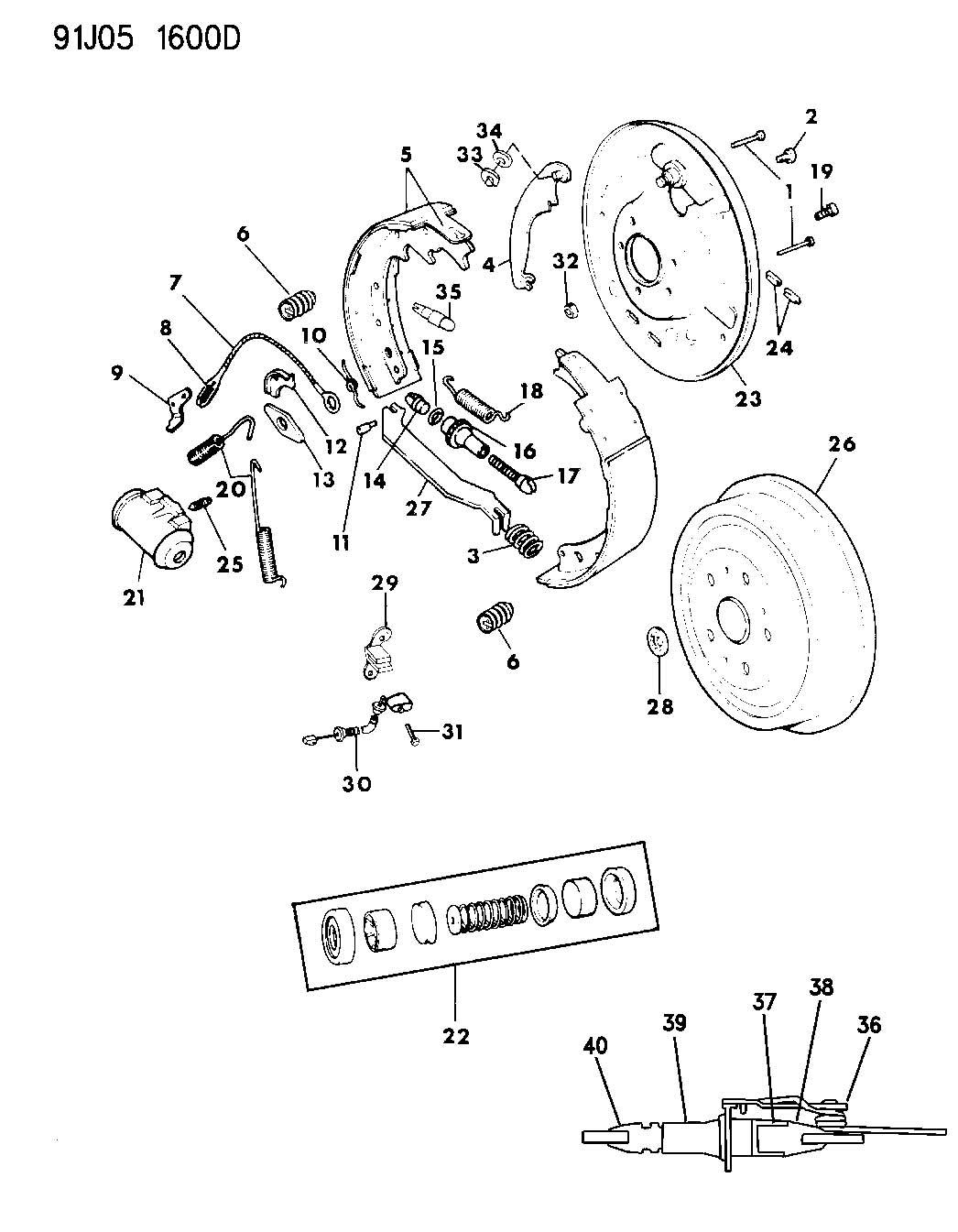 1993 Dodge Grand Caravan Cylinder. Wheel. Rear, axle