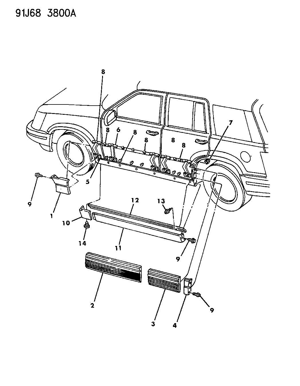 1994 Jeep Grand Cherokee Retainer. Left. Cladding