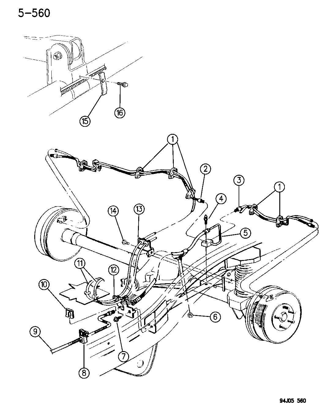1997 Jeep Wrangler Hose. Brake. Rear, axle, brakes