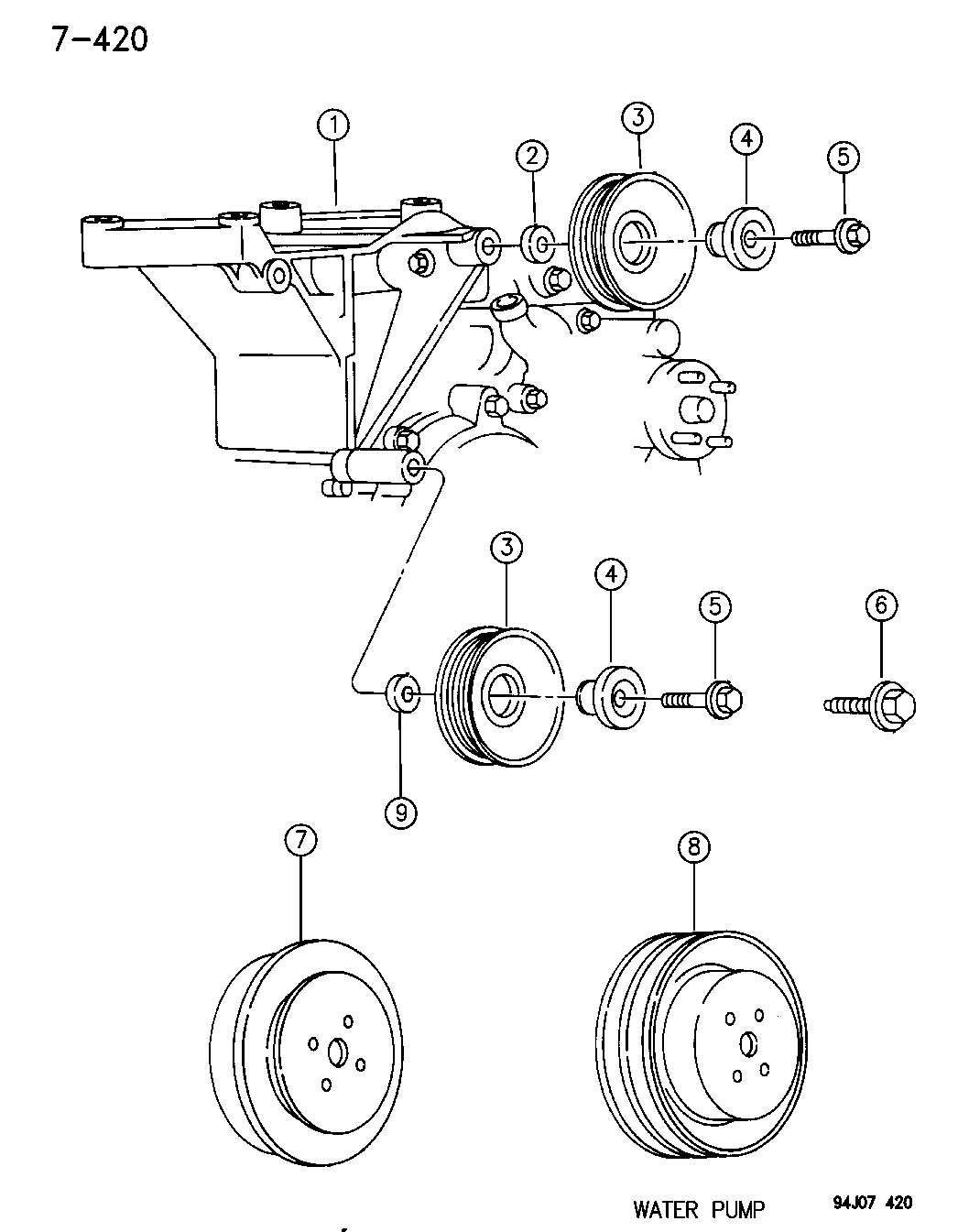 1995 Jeep Wrangler Pulley, pulley assembly, idler, pulley