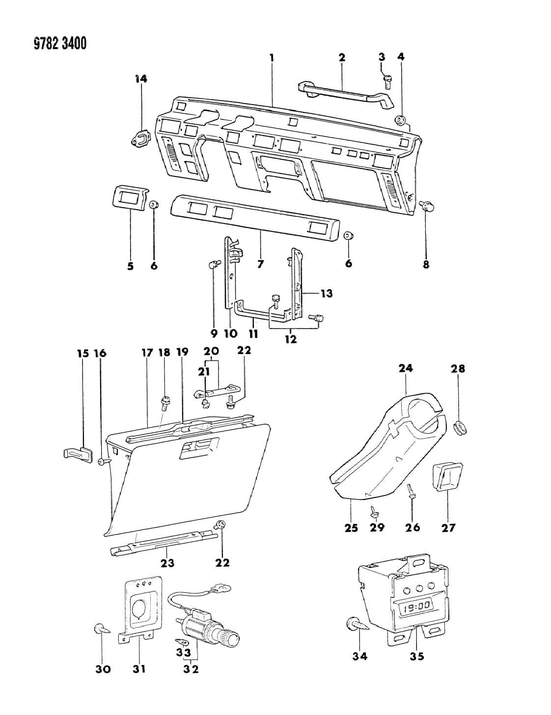Chrysler Sebring Bumper. Glove box door. Bumper, glovebox