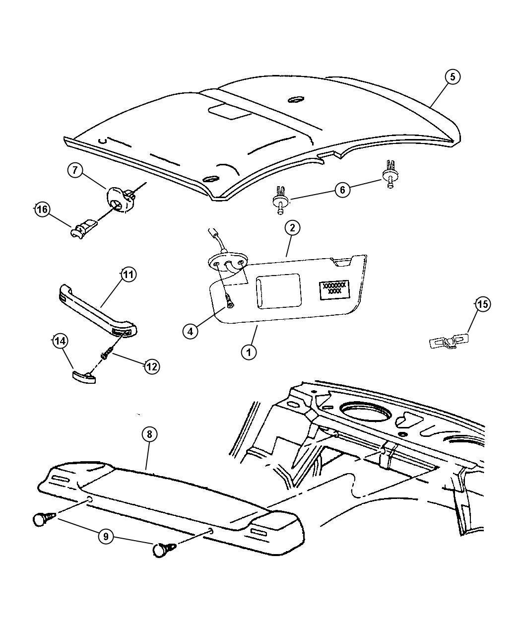 Chrysler Pacifica L Hybrid Screw Pan Head M6x1x20 Assist Handles Body
