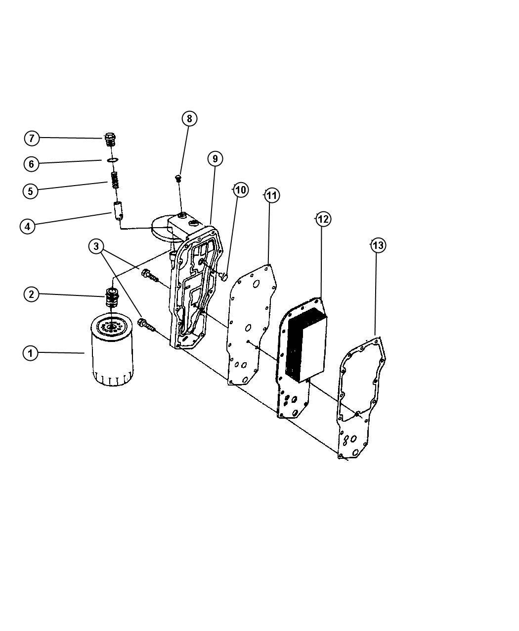 Dodge Neon Gasket Oil Filter Head Engine Cooler