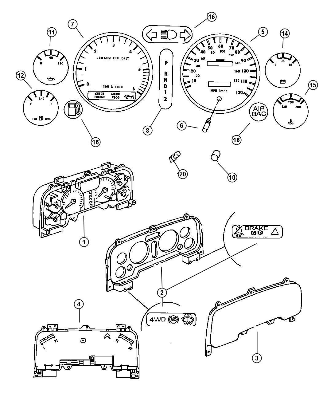 Dodge Ram Indicator Prndl Use Before 01 21 97 Or Aa After 01 20