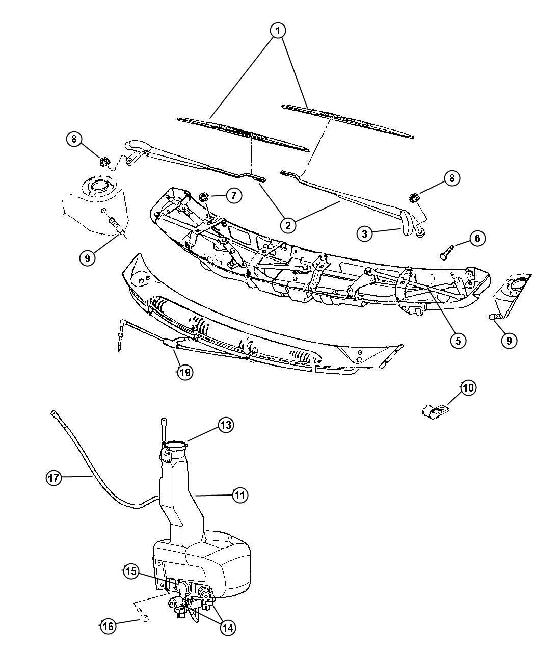 Dodge Ram Nozzle Washer Windshield Washer Wiper