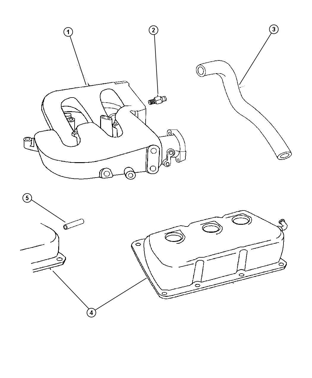 Dodge Intrepid Tube. Pcv valve. Pcv cylinder head cover to