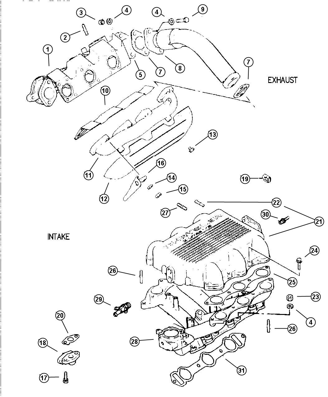Dodge Gasket Intake Plenum Engine Manifolds