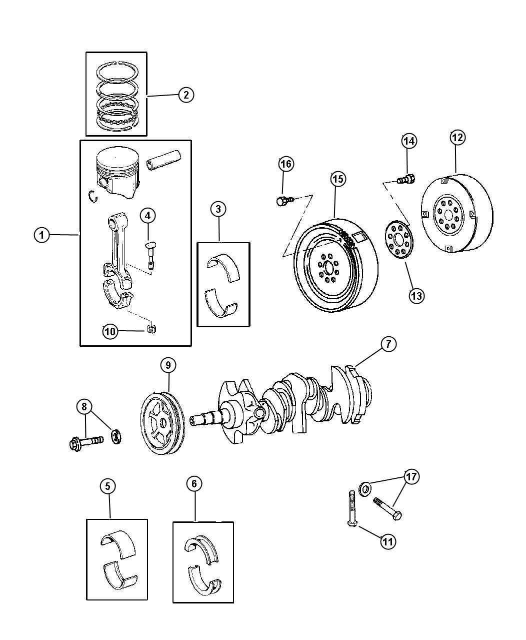 Dodge Intrepid Bearing package. Crankshaft thrust. Std. #2