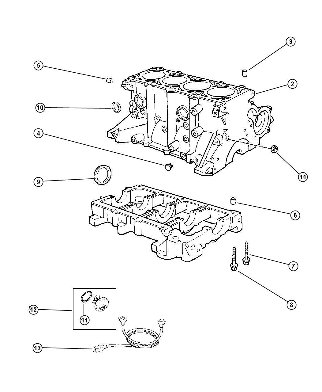 1999 Chrysler Sebring Block. Short. Mpi, dohc, cylinder