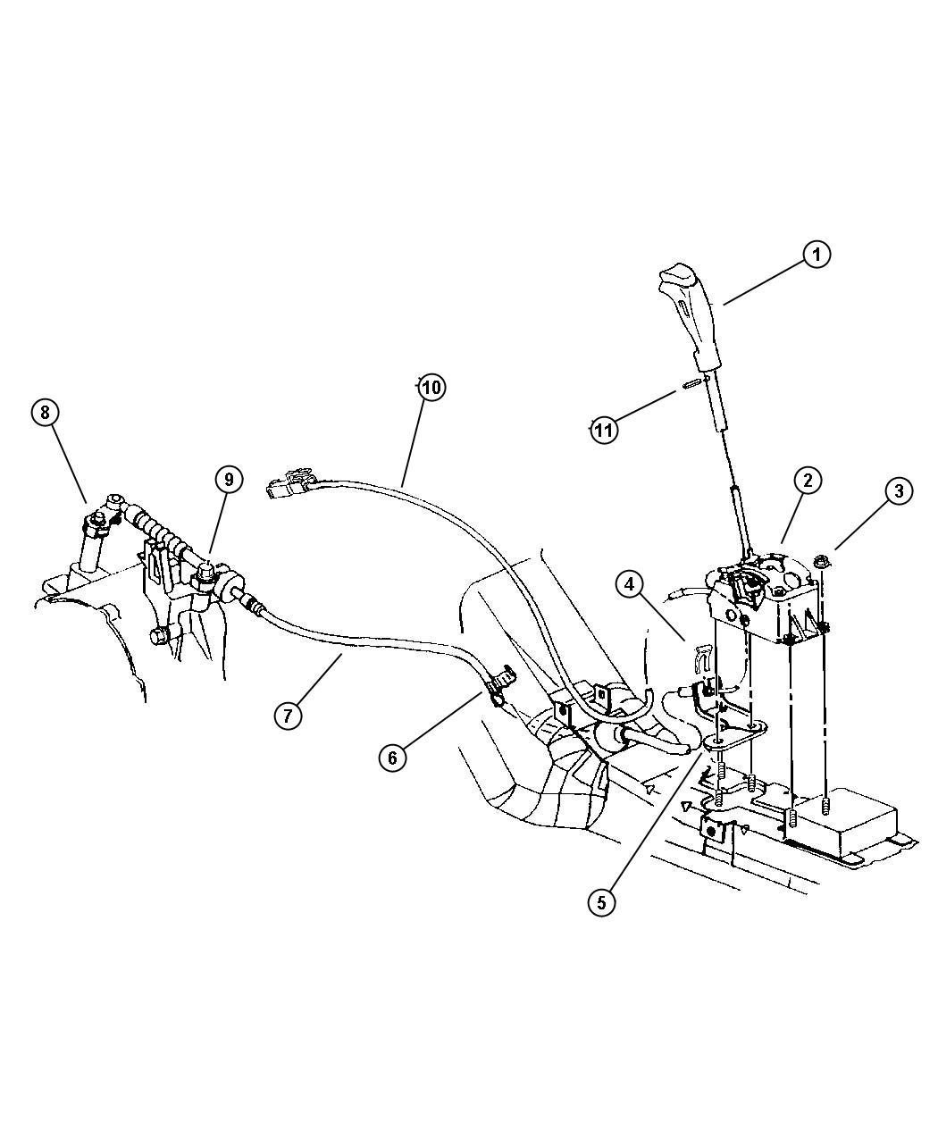 Dodge Stratus Bracket. Transmission control cable. Shift