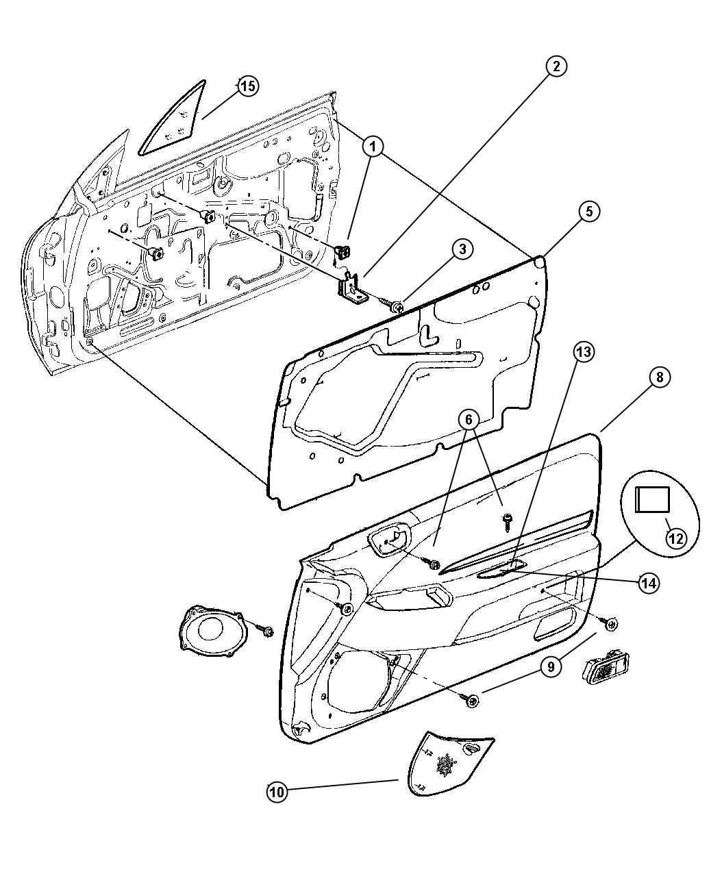 Chrysler Sebring Panel. Door trim front. Left. Agate (2 piece), agate, (2-piece). Trim