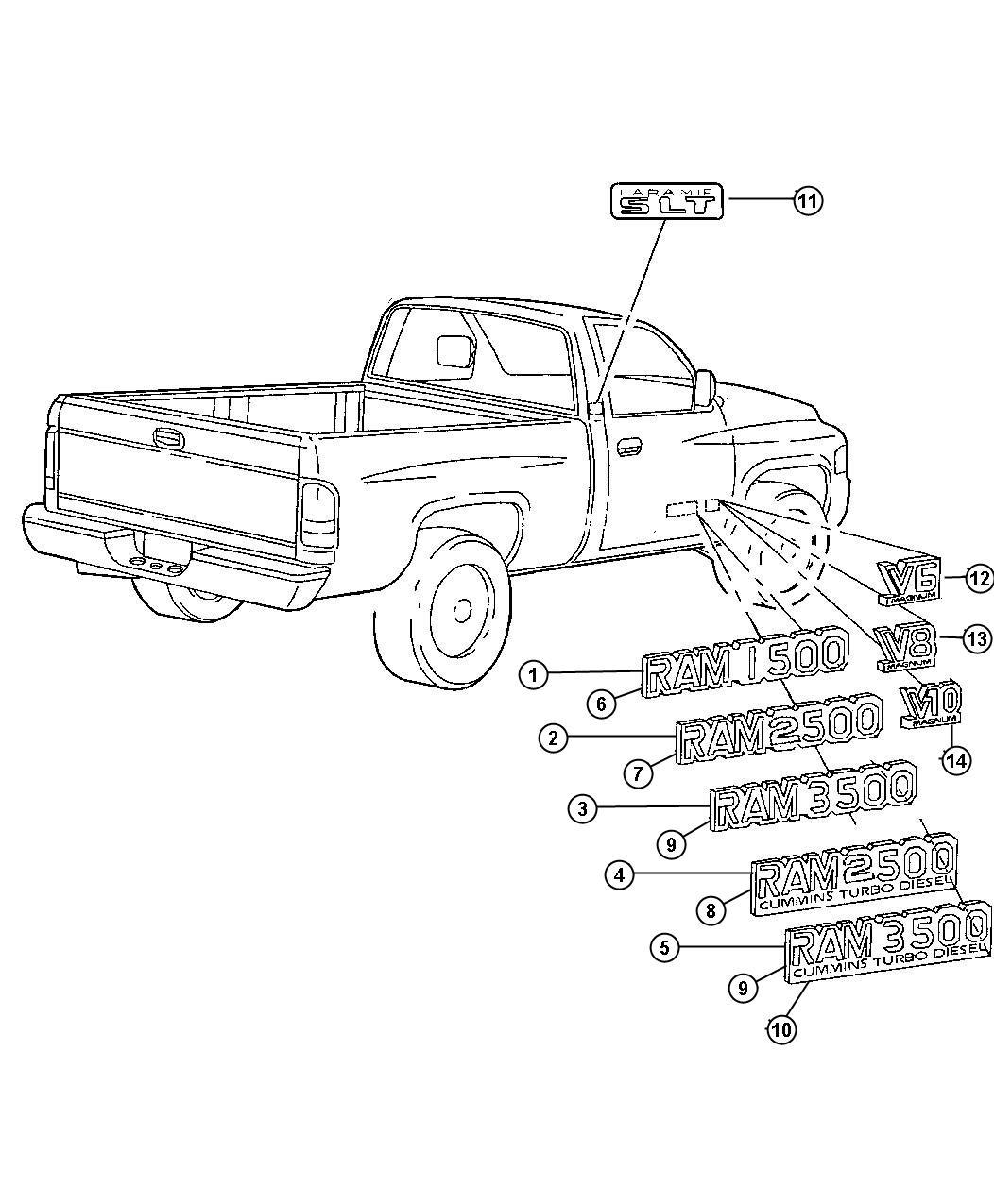 1998 Dodge Ram 3500 Nameplate. Front fender. Ram 2500