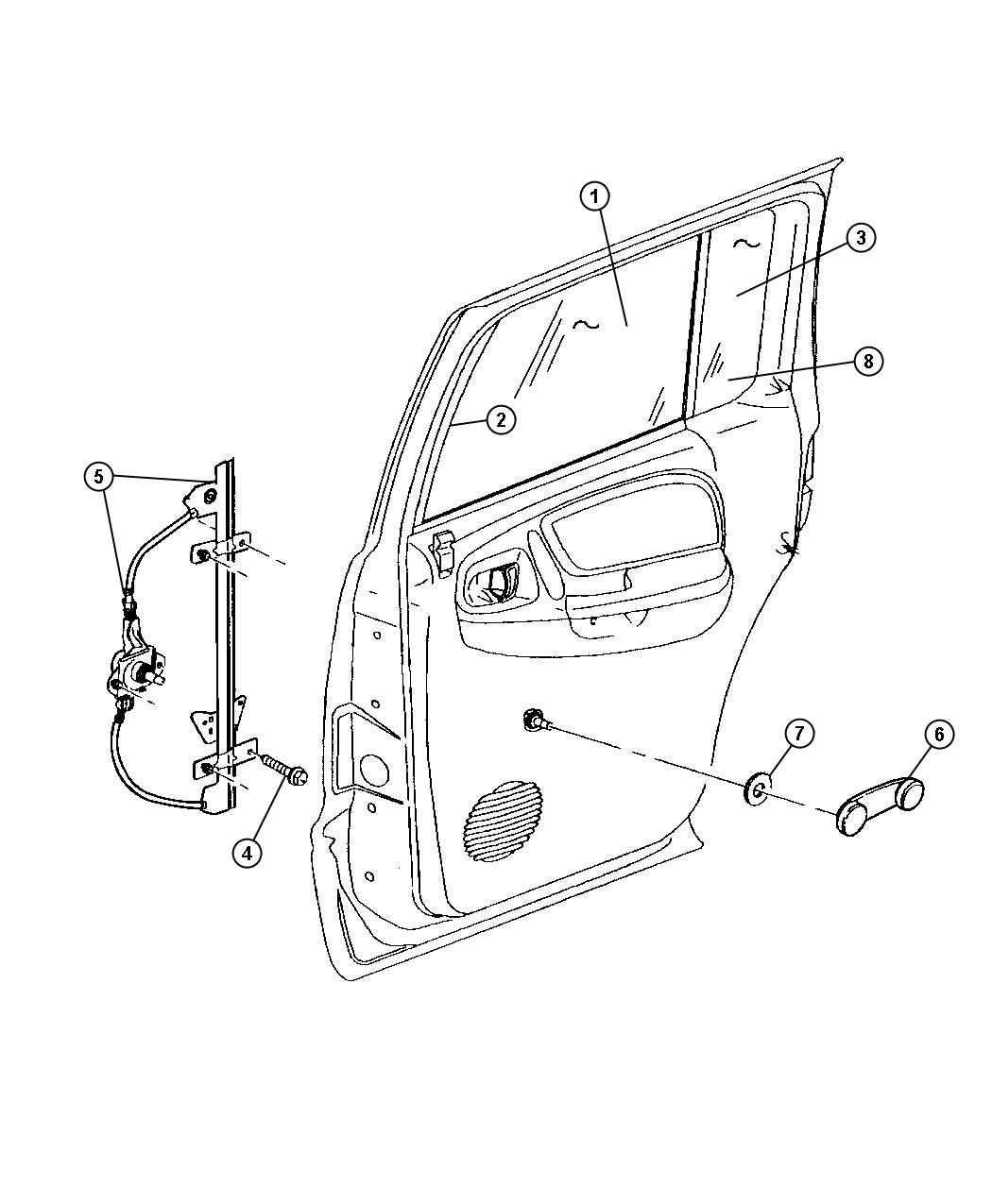 Dodge Durango Regulator Rear Door Window Right With