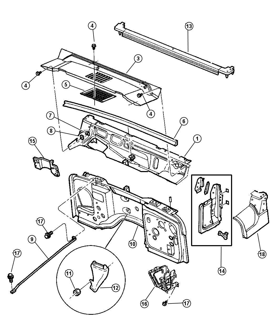 Jeep Wrangler Seal Plenum Drain Panels Fca Dash Cowl
