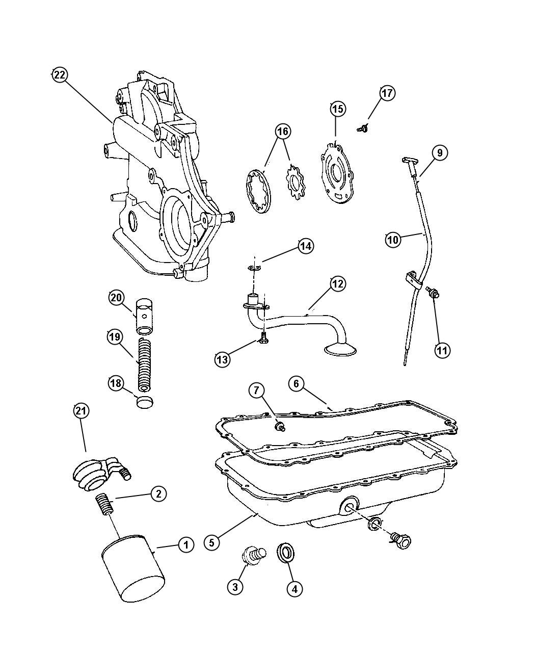 Chrysler Voyager Pickup Engine Oil Oil Pickup W Strainer